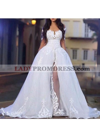 2020 Hot Sale White Long Sleeves Off Shoulder Side Slit Tulle With Appliques Wedding Dresses