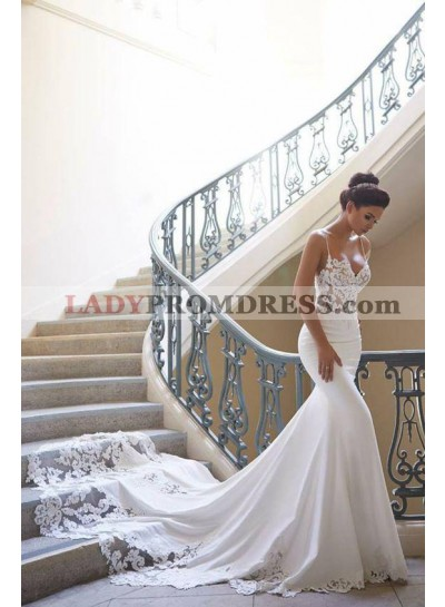 2020 Sexy Mermaid Sweetheart Spaghetti Straps Satin Long Hot Sale Wedding Dresses