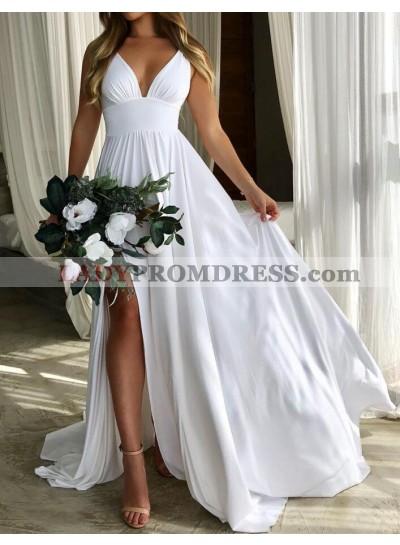 2020 Hot Sale A Line White Empire Waist Sweetheart Side Slit Beach Wedding Dresses