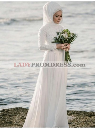 2020 Hot Sale A Line Chiffon Long Sleeves Lace Muslin Beach Wedding Dresses
