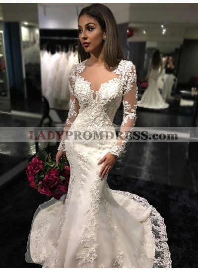 2020 Newly Mermaid Long Sleeves See Through Back Sweetheart Wedding Dresses