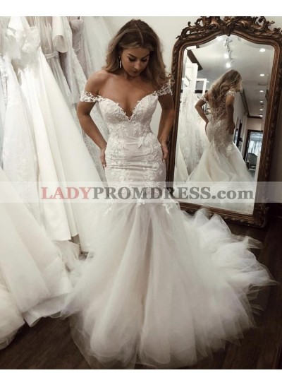 2020 Charming Mermaid Sweetheart Lace Tulle Off Shoulder Lace Hot Sale Wedding Dresses