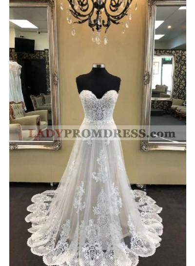2020 Elegant A Line Sweetheart Lace Hot Sale Beach Wedding Dresses