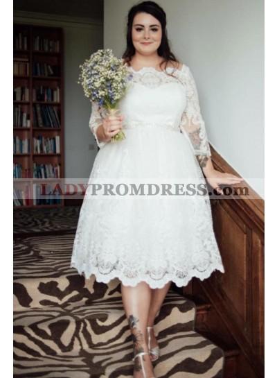 Cheap A Line Off Shoulder Long Sleeves Tea Length Short Plus Size Wedding Dresses 2021