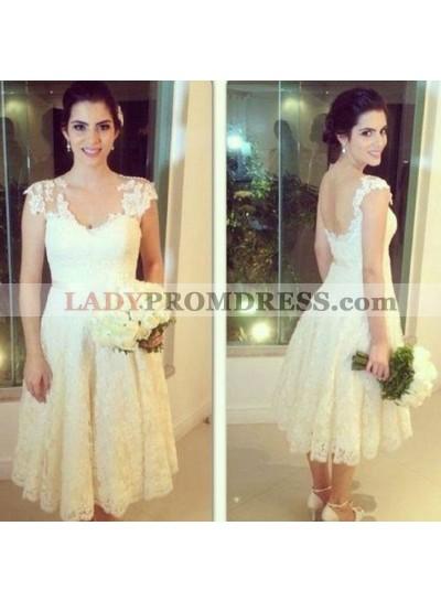 2020 New Arrival A Line Lace Tea length Short Backless Beach Wedding Dresses