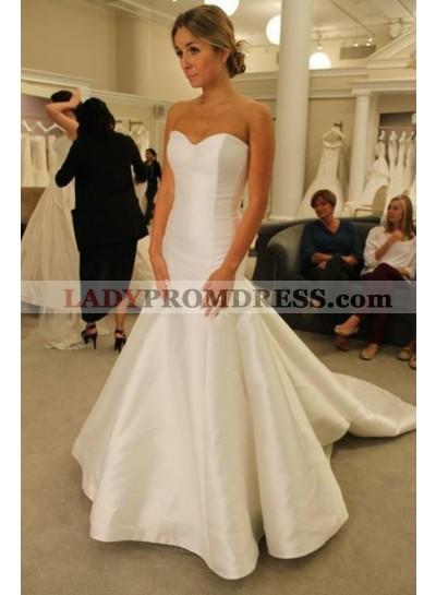 2020 Cheap Mermaid Satin Sweetheart Long Wedding Dresses