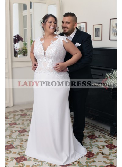 2020 New Arrival Sheath Sweetheart Capped Sleeves Lace Plus Size Wedding Dresses