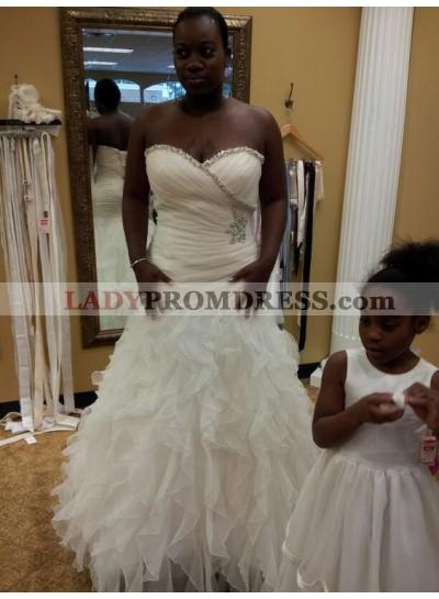 2020 New Arrival Mermaid Sweetheart Pleated Ruffles Beaded Wedding Dresses