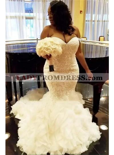 Alluring 2021 Mermaid Sweetheart Lace Ruffles Long Plus Size Wedding Dresses