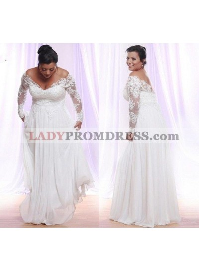 Cheap A Line Chiffon Off Shoulder Long Sleeves lace Plus Size Wedding Dresses 2021