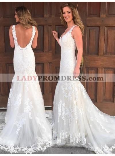 2020 Vintage Sheath Backless Sweetheart Long Lace Wedding Dresses