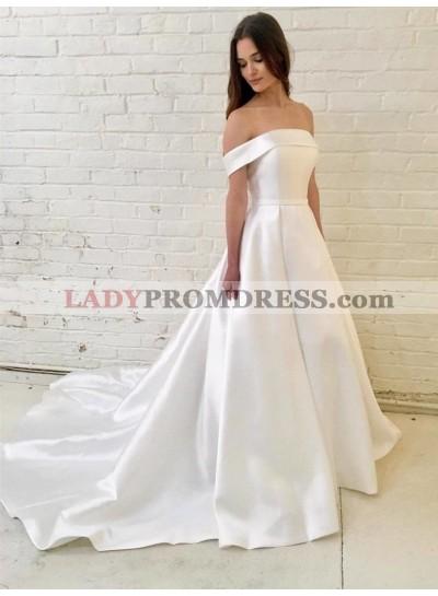 Classic A Line Off Shoulder Satin Long Cheap Wedding Dresses 2020