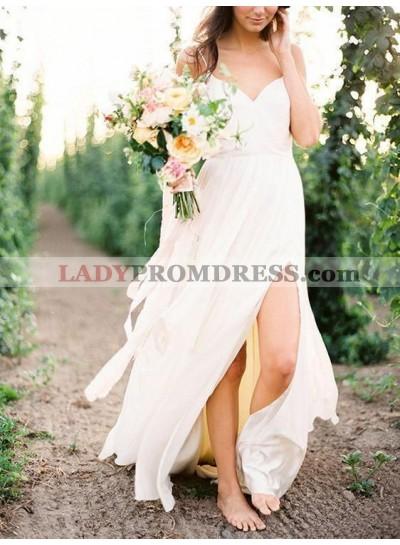Cheap A Line Side Slit Chiffon Sweetheart Beach Wedding Dresses 2020