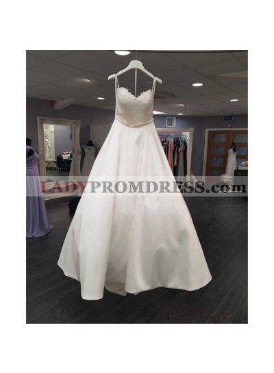 Classic A Line 2020 Satin Sweetheart Long Lace Vintage Wedding Dresses