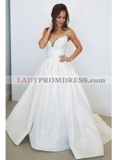 2020 A Line Classic Sweetheart Spaghetti Straps Wedding Dresses