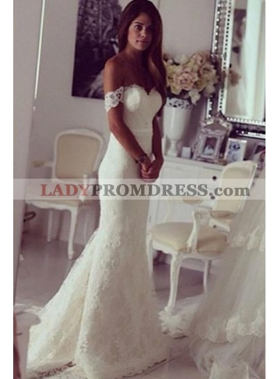 Charming Sheath Lace Sweetheart Off Shoulder Long Wedding Dresses 2020