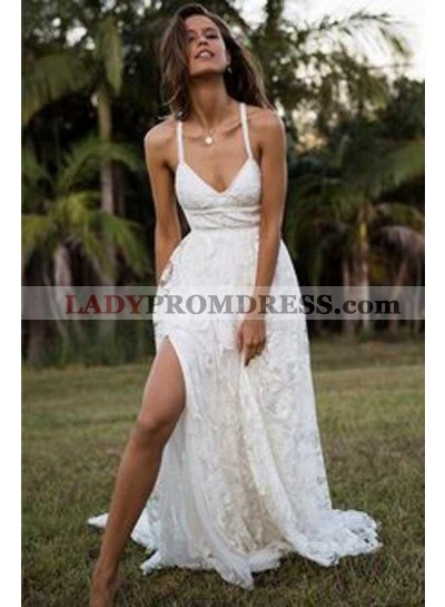 2020 Sexy A Line Side Slit Sweetheart Lace Beach Wedding Dresses