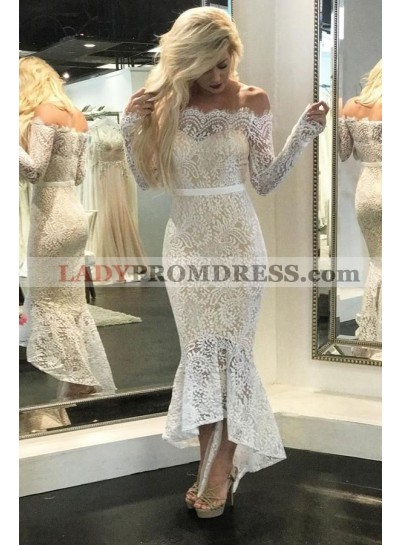 Sexy High Low Off Shoulder Long Sleeves Lace Short Beach Wedding Dresses 2020