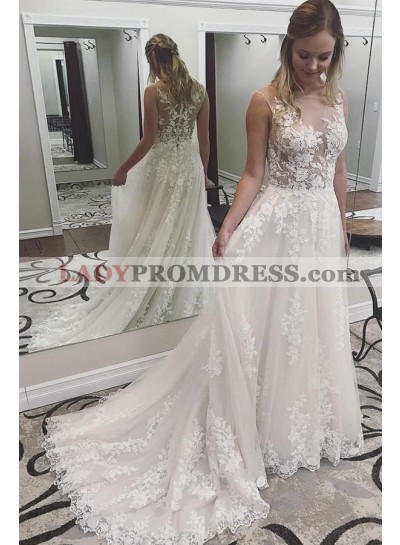 2020 Elegant A Line Long Train Mesh Lace Cheap Beach Wedding Dresses