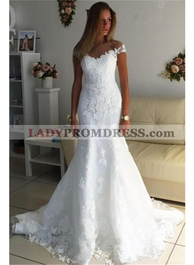 2020 Mermaid White Sweetheart Capped Sleeves Empire Lace Wedding Dresses