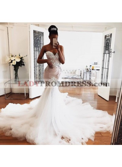 2020 Sexy Sweetheart Tulle Long Train Mermaid Embroidery Wedding Dresses