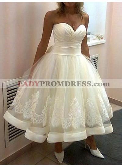 2020 Cheap A Line Sweetheart Tea Length Lace Short Wedding Dresses