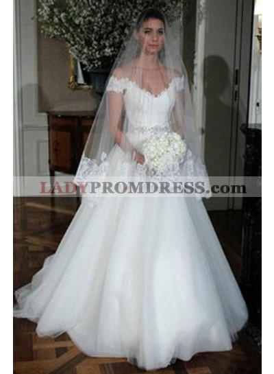 Elegant A Line Cheap Off Shoulder Sweetheart Tulle Wedding Dresses 2020
