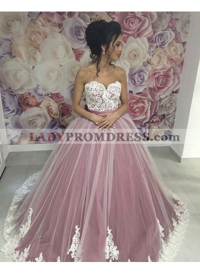 2020 New Arrival Sweetheart Tulle With White Lace Ball Gown Dusty Rose Prom Dresses With Belt