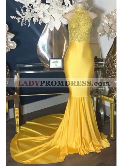 2020 New Arrival Mermaid Yellow High Neck Elastic Satin Prom Dresses With Appliques