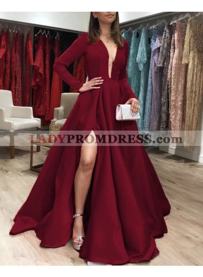 2021 New Arrival A Line Satin Long Sleeves Satin Open Front Burgundy Long Prom Dresses