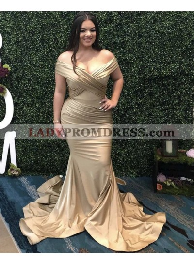 2021 Charming Off Shoulder Mermaid Champagne Silk Like Satin Plus Size Prom Dresses