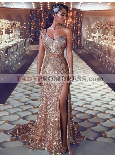 2021 New Arrival Sheath Side Slit Champagne Sequence One Shoulder Prom Dresses
