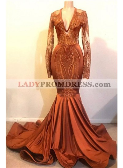 2020 Sexy Mermaid Long Sleeves Coral V Neck Satin Prom Dresses With Appliques