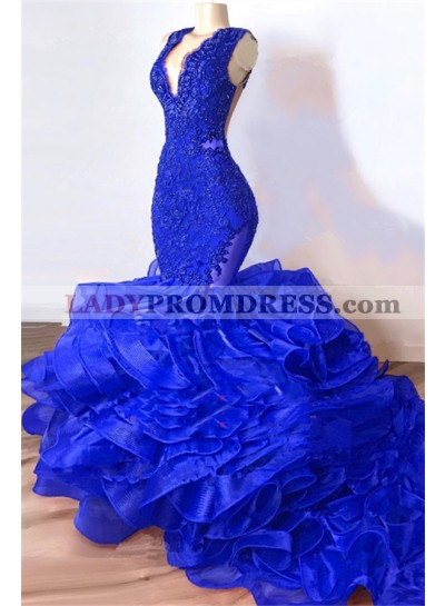 2021 Royal Blue Mermaid V Neck Organza Layered Lace Long Prom Dresses