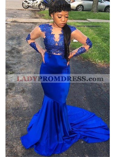 Cheap Royal Blue Mermaid Long Sleeves Elastic Satin New 2021 Prom Dresses