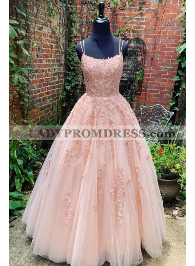 2021 New Arrival Tulle Blush Pink Ball Gown Prom Dresses With Appliques Lace Up