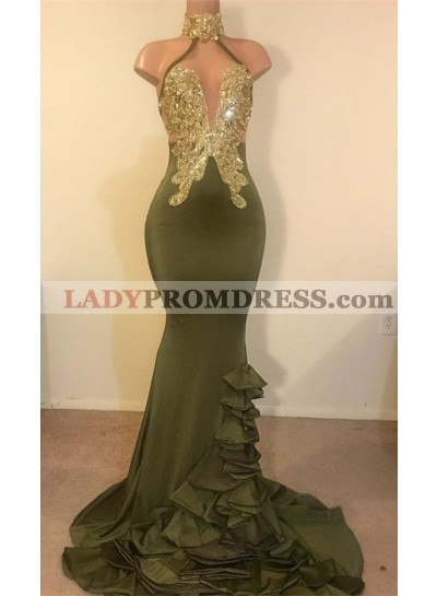 2021 New Arrival Mermaid High Neck Beaded Green Ruch Backless Prom Dresses
