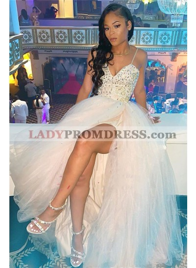 2021 Cheap A Line White Sweetheart Beaded Tulle Side Slit Prom Dresses