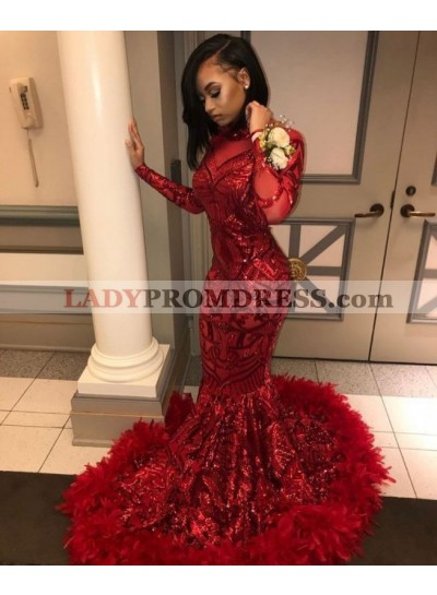 2021 Sexy Red Mermaid Feathers Long Sleeves Lace Long Prom Dresses