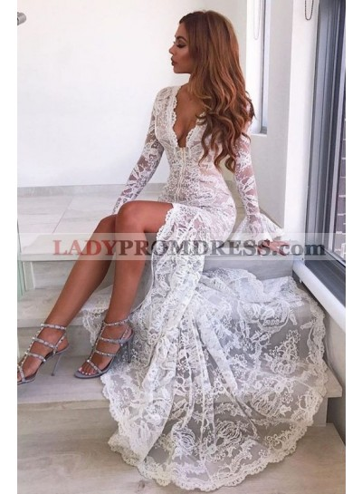 2021 Charming White Mermaid Sweetheart Long Sleeves Lace Prom Dresses