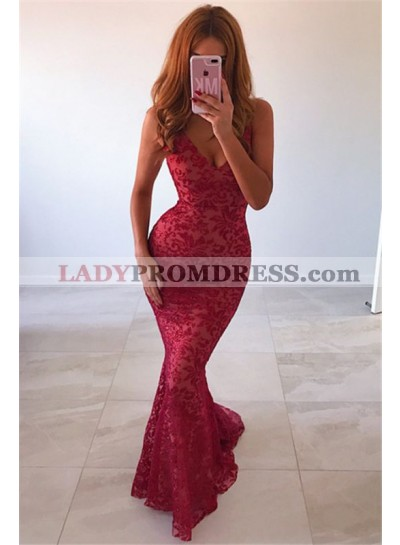 Sexy Mermaid V Neck Red Lace Backless 2021 Prom Dresses