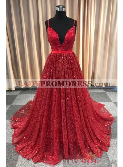 2020 New Arrival A Line Red V Neck Lace Prom Dresses