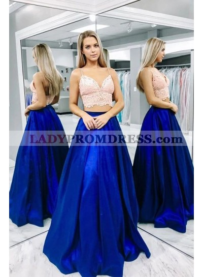 Cheap A Line Satin Royal Blue Sweetheart Two Pieces Prom Dresses 2020