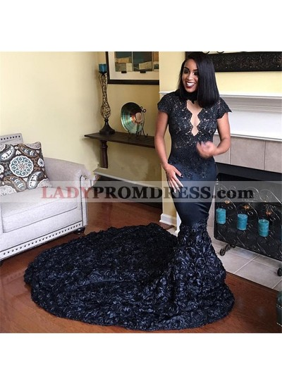 Charming Black Mermaid Rose Patterns Capped Sleeves Long Prom Dresses 2020
