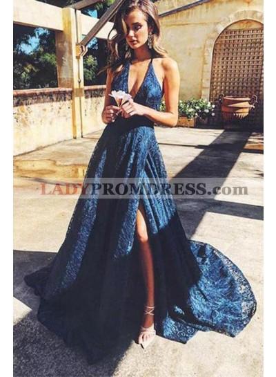 Cheap A Line V Neck Side Slit Lace Royal Blue Lace Prom Dresses 2020