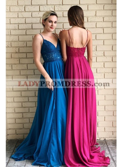 Cheap A Line Chiffon Royal Blue Sweetheart Lace Prom Dresses 2020