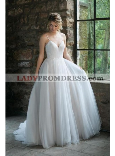 2020 A Line Tulle Ivory Sweetheart Tulle Pleated Spaghetti Straps Wedding Dresses