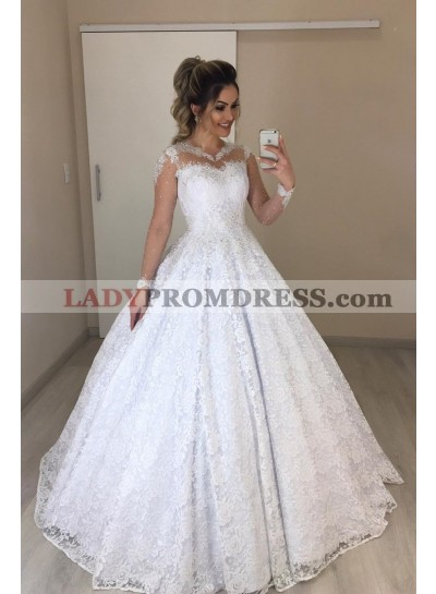 Long Sleeves Lace Ball Gown Wedding Dresses 2020