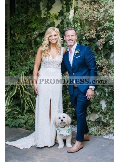 Sheath Slit V Neck Lace Back V Beach Wedding Dresses 2020