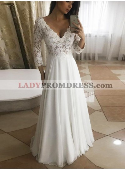 2020 A Line Chiffon V Neck Long Sleeves Floor Length Lace Beach Wedding Dresses